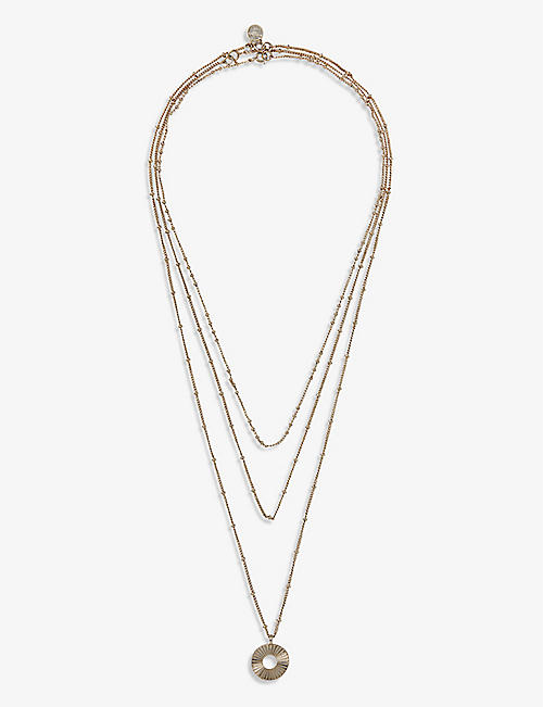 THE WHITE COMPANY: Disc layered gold-plated necklaces set of three
