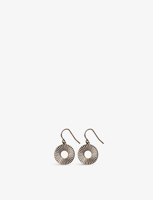 THE WHITE COMPANY: Disc gold-plated earrings