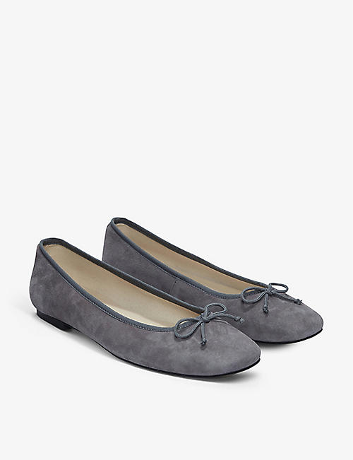 THE WHITE COMPANY: Bow-embellished suede ballet flats