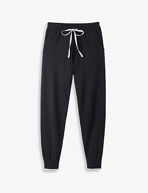 THE WHITE COMPANY: Tapered high-rise cotton and silk jogging bottoms