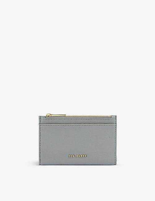 TED BAKER: Logo-embossed grained leather card holder