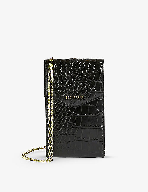 TED BAKER: Kaaira brand-embellished croc-embossed patent-leather phone pouch