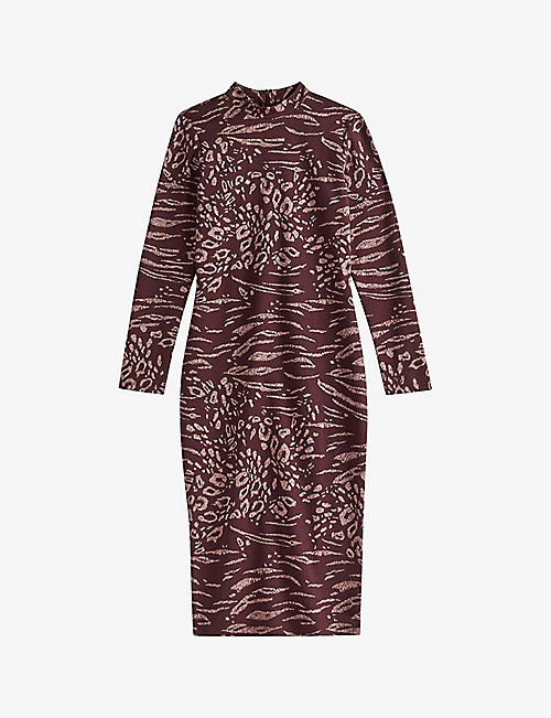 TED BAKER: Deeh long-sleeved stretch-woven midi dress