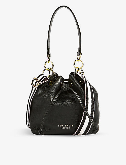 TED BAKER: Aminah webbing-strap leather bucket bag