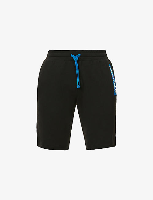 EMPORIO ARMANI: Branded-trim relaxed-fit stretch-cotton shorts