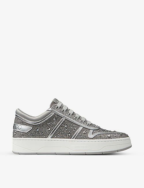 JIMMY CHOO: Hawaii crystal-embellished satin and leather trainers