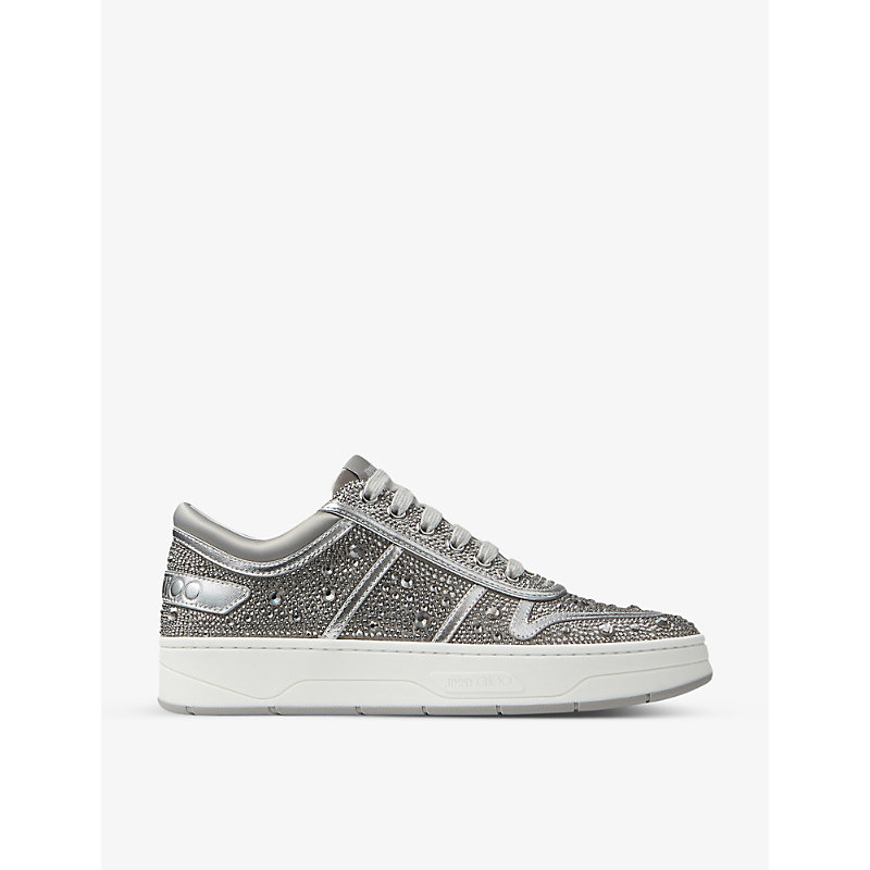 Jimmy Choo Shoes HAWAII CRYSTAL-EMBELLISHED SATIN AND LEATHER TRAINERS