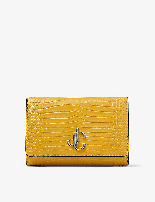 JIMMY CHOO: Varenne crocodile-embossed leather clutch bag