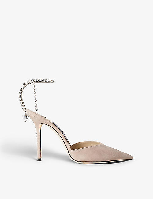 JIMMY CHOO: Saeda heeled suede courts