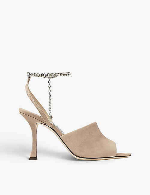 JIMMY CHOO: Sae 90 crystal-embellished suede heeled sandals