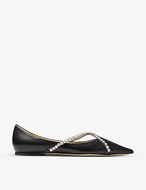 JIMMY CHOO: Genevi crystal-embellished nappa leather flats