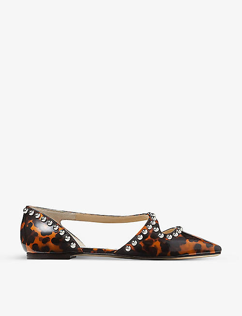 JIMMY CHOO: Joezie stud-embellished leather flats