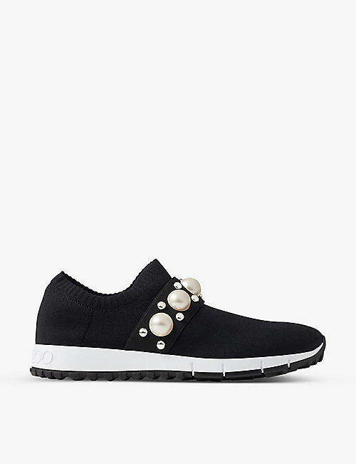JIMMY CHOO: Verona crystal-embellished knitted trainers