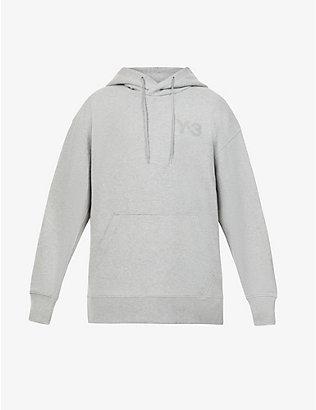 Y3: Brand-appliqué cotton-jersey drawstring hoody