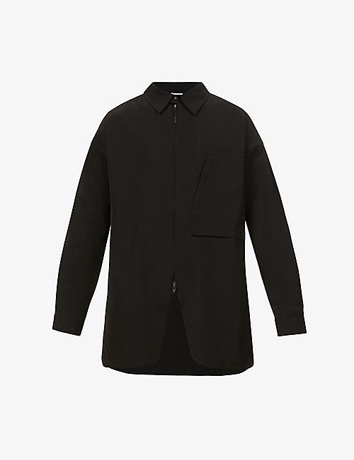 Y3: Brand-patch collared woven overshirt