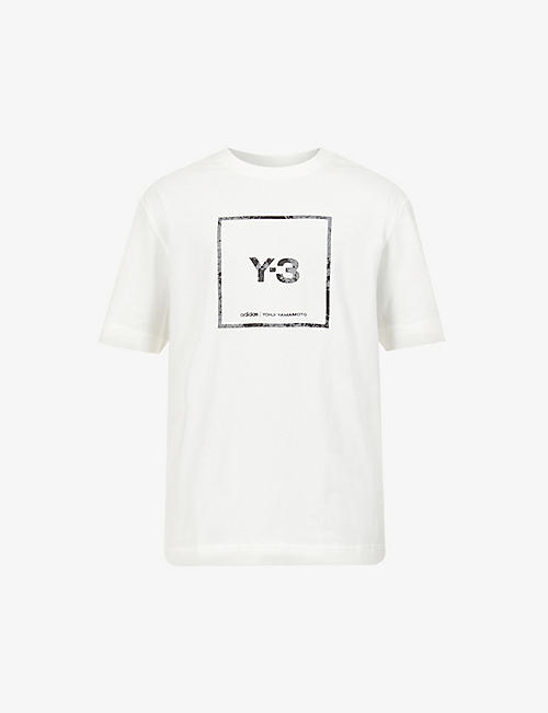 Y3: Brand-appliqué crewneck cotton-jersey T-shirt