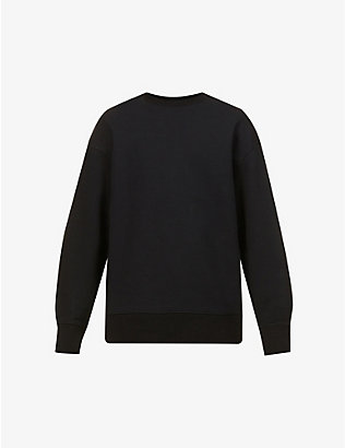 Y3: Brand-patch three-stripe-pattern cotton-jersey sweatshirt