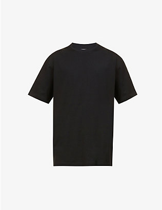 Y3: Brand-patch three-stripe-pattern cotton-jersey T-shirt