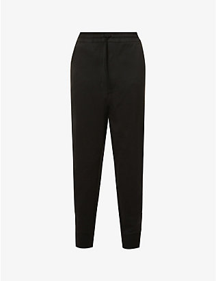 Y3: Brand-patch three-stripe-pattern jersey jogging bottoms