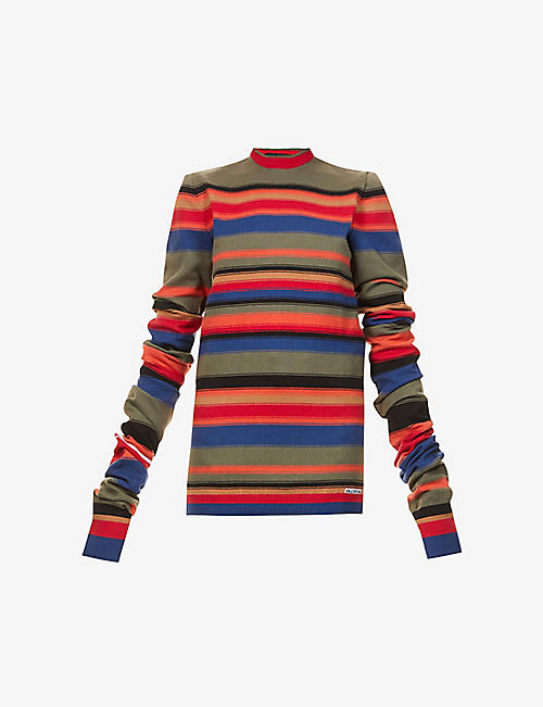 Y/PROJECT: Maxi Sleeve stripe-print knitted jumper
