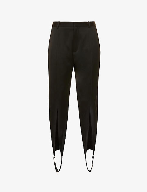 Y/PROJECT: High-rise regular-fit satin trousers