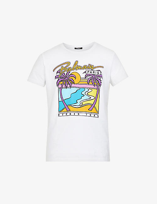 BALMAIN: Graphic-print relaxed-fit cotton-jersey T-shirt