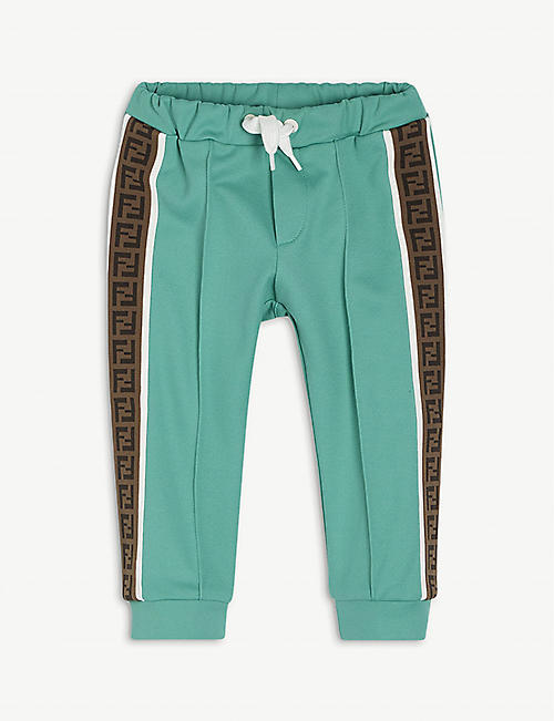 FENDI: Retro logo-tape woven jogging bottoms 6-24 months