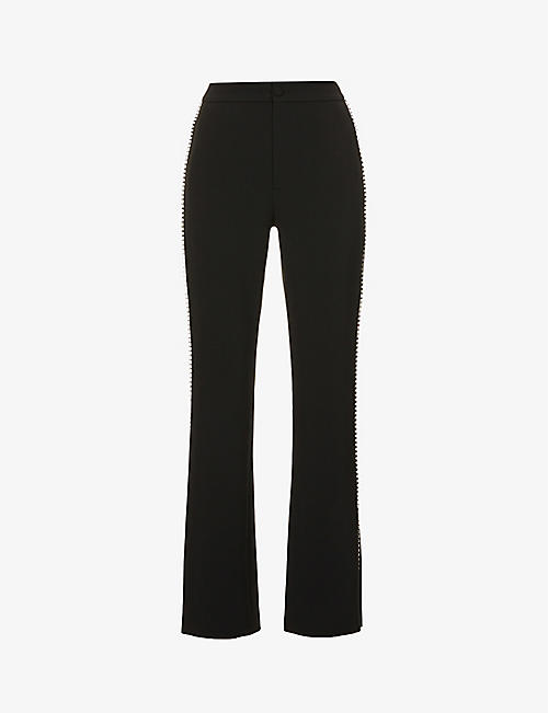HUISHAN ZHANG: Stella crystal-embellished stretch-twill trousers