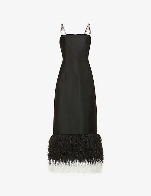 HUISHAN ZHANG: Astra feather-trimmed woven midi dress