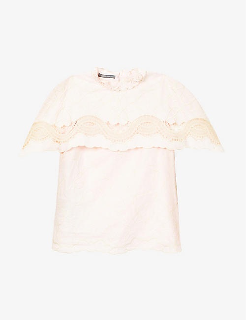 ALBERTA FERRETTI: Lace-cape overlay cotton top