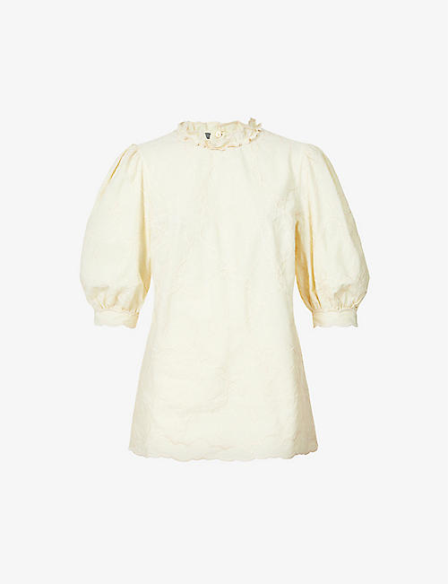 ALBERTA FERRETTI: Puff-sleeved embroidered cotton top