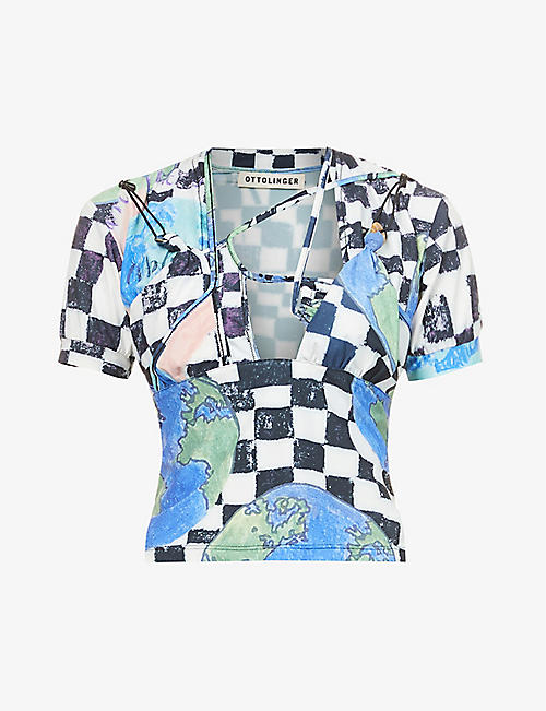 OTTOLINGER: World-print stretch-woven top