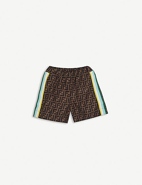 FENDI: Logo-print woven shorts 4-14 years
