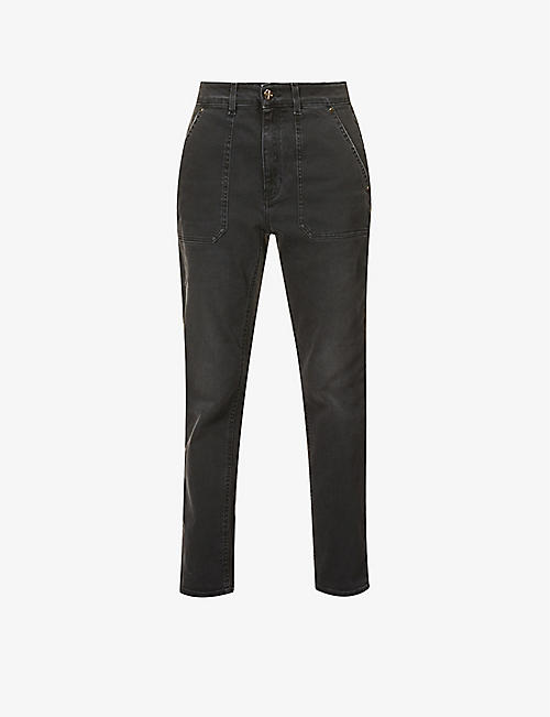 ME AND EM: Cargo cropped high-rise cotton-blend jeans