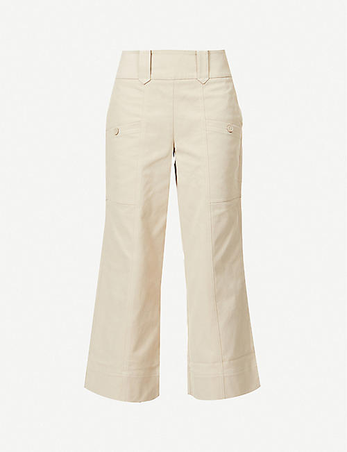 ME AND EM: Flared wide-leg high-rise cotton-blend twill trousers