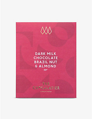 THE CHOCOLATIER: Roasted Brazil nut and almond dark milk chocolate bar 50g