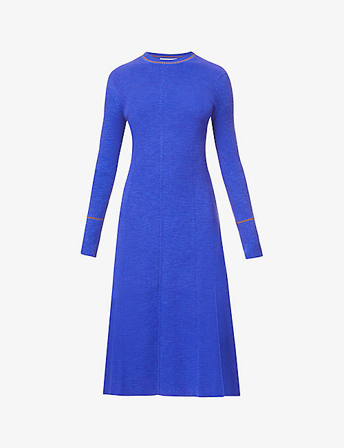 VICTORIA BECKHAM: Ribbed cotton-blend knitted midi dress