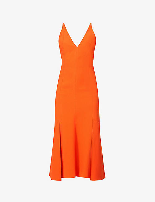 VICTORIA BECKHAM: Plunging V-neck crepe midi dress
