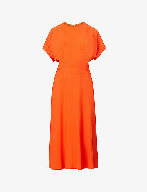 VICTORIA BECKHAM: Pin-tucked crepe midi dress