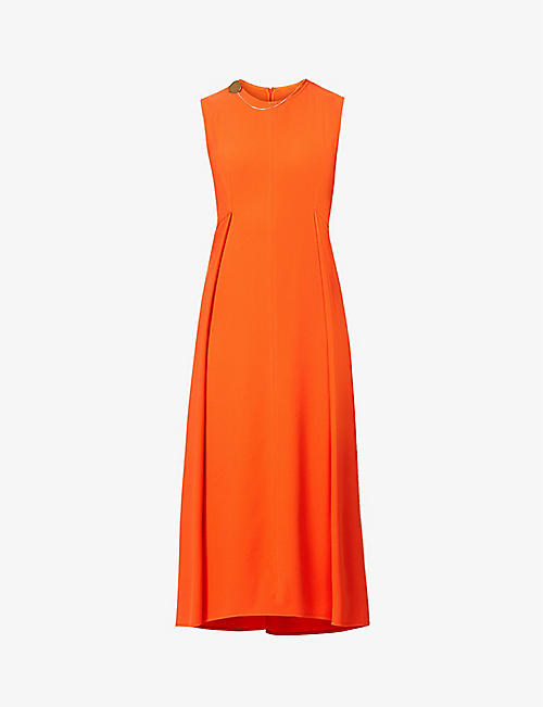 VICTORIA BECKHAM: Sleeveless crepe midi dress