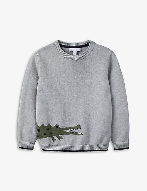 THE LITTLE WHITE COMPANY: Crocodile cotton jumper 1-6 years