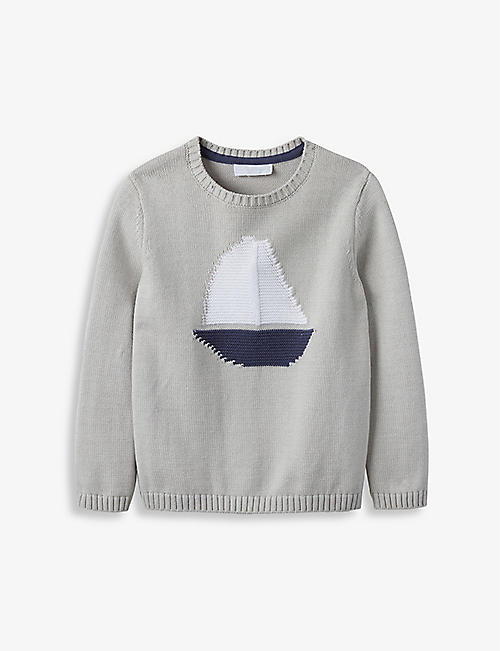 THE LITTLE WHITE COMPANY: Sailboat graphic-intarsia cotton-knit jumper 2-6 years