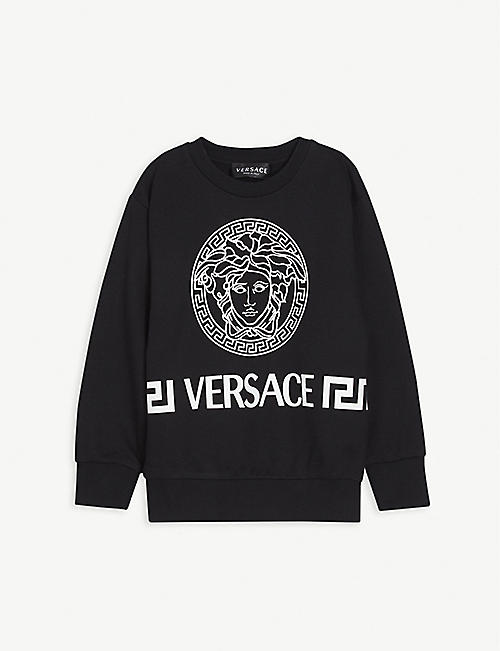 VERSACE: Greek logo-print cotton sweatshirt 6-14 years