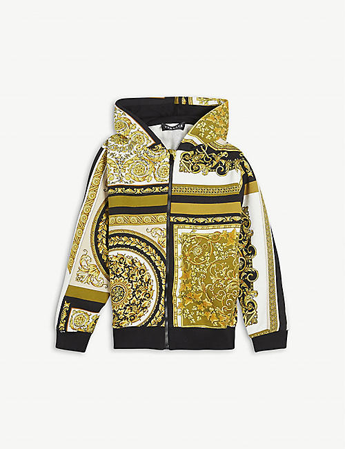 VERSACE: Baroque-print cotton hoody 8-14 years