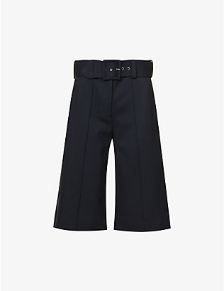 VICTORIA VICTORIA BECKHAM: Belted wide-leg high-rise woven culottes