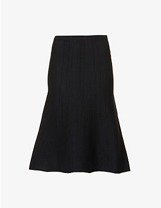 VICTORIA VICTORIA BECKHAM: High-rise stretch-knit midi skirt