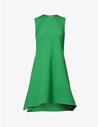 VICTORIA VICTORIA BECKHAM: Asymmetric-hem sleeveless woven midi dress