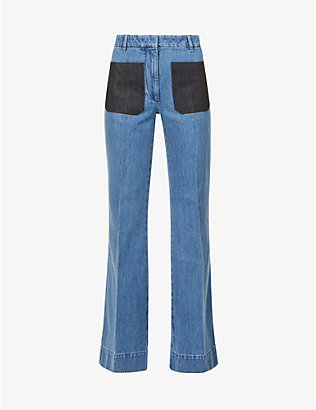 VICTORIA BECKHAM: Patch-pocket flared high-rise jeans