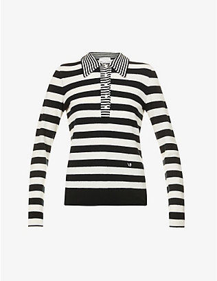 VICTORIA BECKHAM: Striped wool and cashmere-blend polo top