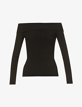 VICTORIA BECKHAM: Off-the-shoulder ribbed stretch-knit top
